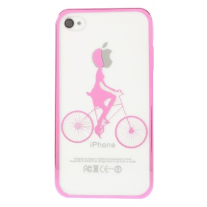 Riding Bicycle Plating Edges See-through Back Hard Case for iPhone 4s 4 - Rose