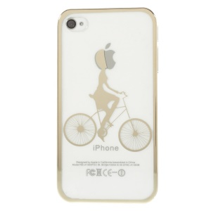 Riding Bicycle Plated Edges See-through Back Hard Shell for iPhone 4s 4 - Gold