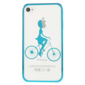 Riding Bicycle Plated Edges See-through Back Hard Cover for iPhone 4s 4 - Blue