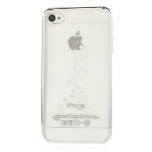 For iPhone 4s 4 Little Bubbles Clear Back Electroplated Edges PC Hard Cover - Silver