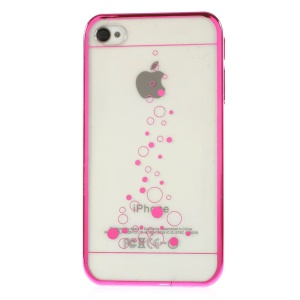 Little Bubbles Clear Back Electroplating Edges Hard Shell for iPhone 4s 4 - Rose