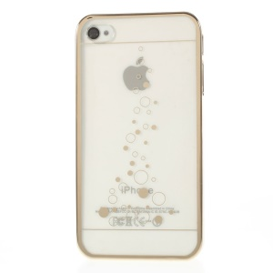 Little Bubbles Plating Edges Clear Back Hard Shell Cover for iPhone 4s 4 - Gold