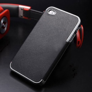 Cross Texture Leather Coated Plated Hard Case for iPhone 4s 4 - Silver / Black