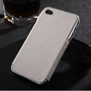 Cross Texture Leather Coated Plated Hard Cover for iPhone 4s 4 - Silver / White