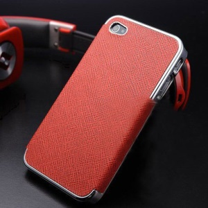Cross Texture Leather Coated Plated Hard Back Case for iPhone 4s 4 - Silver / Red