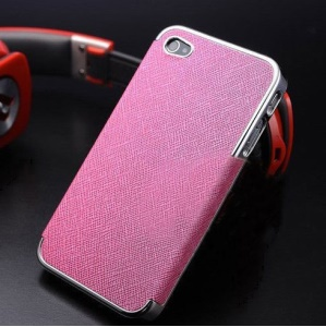 For iPhone 4s 4 Cross Texture Leather Coated Plating PC Hard Shell - Silver / Rose