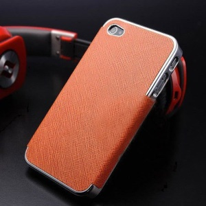 For iPhone 4s 4 Cross Texture Leather Coated Plating PC Hard Case - Silver / Orange