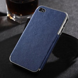 For iPhone 4s 4 Cross Texture Leather Coated Plated Plastic Case - Silver / Blue