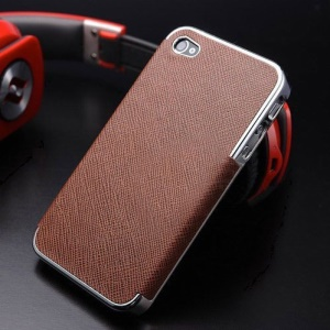 For iPhone 4s 4 Cross Texture Leather Coated Plated Plastic Cover - Silver / Brown