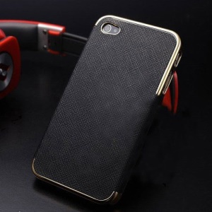 Cross Texture Leather Skin Plated PC Hard Cover for iPhone 4s 4 - Gold / Black