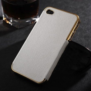 Cross Texture Leather Skin Plated PC Hard Case for iPhone 4s 4 - Gold / White