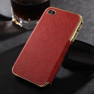Cross Texture Leather Skin Plated Hard Phone Case for iPhone 4s 4 - Gold / Red