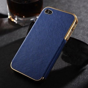 Cross Texture Leather Skin Plated Hard Shell Case for iPhone 4s 4 - Gold / Blue