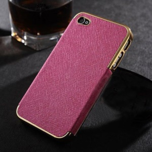 For iPhone 4s 4 Cross Texture Leather Skin Plating Hard Back Cover - Gold / Rose