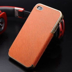 For iPhone 4s 4 Cross Texture Leather Skin Plating Hard PC Case - Gold / Orange