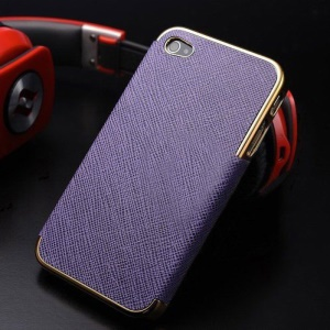 Cross Texture Leather Coated Plating Hard Cover for iPhone 4s 4 - Gold / Purple