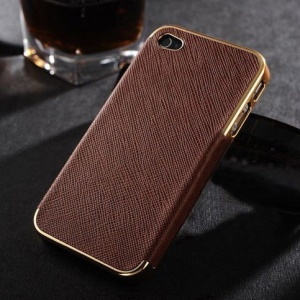 Cross Texture Leather Coated Plating Hard Shell for iPhone 4s 4 - Gold / Brown