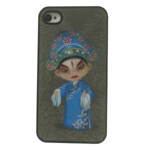 Chinese Opera Characters Dynamic 3D Effect Hard Shell Cover for iPhone 4 4s