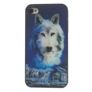For iPhone 4 4s Vivid Wolves Dynamic 3D Effect Hard Plastic Cover