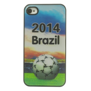 2014 Brazil & Football Dynamic 3D Effect Hard Phone Case for iPhone 4 4s