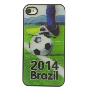 3D Effect 2014 Brazil & Football Match Hard PC Case for iPhone 4 4s