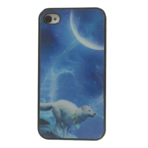 Vivid 3D Effect Wolf Under the Moon Plastic Hard Cover for iPhone 4 4s