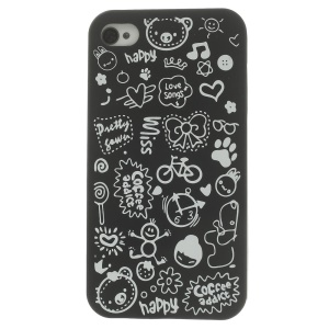 Cartoon Graffiti Hard Plastic Case for iPhone 4 4s - Black