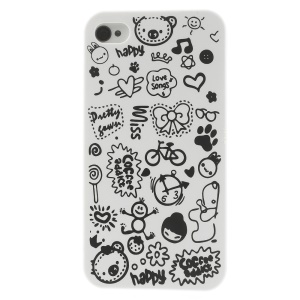 Cartoon Graffiti Hard Shell Case for iPhone 4 4s - White