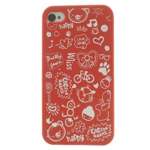 Cartoon Graffiti Hard Case Shell for iPhone 4 4s - Red