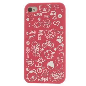 Cartoon Graffiti Hard Back Case for iPhone 4 4s - Rose