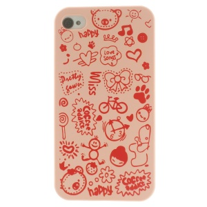Cartoon Graffiti Hard Protective Case for iPhone 4 4s - Pink