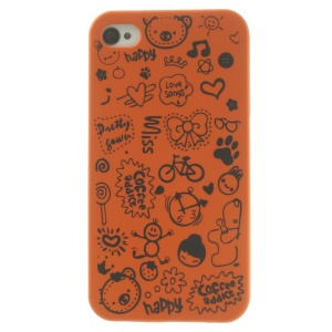 Cartoon Graffiti Hard Cover for iPhone 4 4s - Orange
