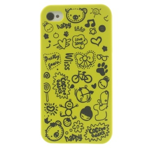 Cartoon Graffiti Hard Shell Cover for iPhone 4 4s - Green