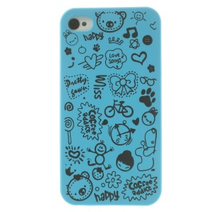 Cartoon Graffiti Hard Cover Shell for iPhone 4 4s - Baby Blue