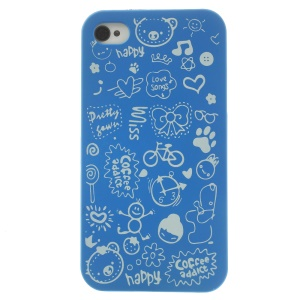 Cartoon Graffiti Hard Shell for iPhone 4 4s - Dark Blue