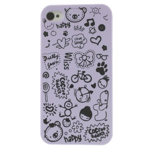 Cartoon Graffiti Hard Case Cover for iPhone 4 4s - Purple