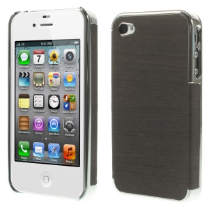 Wood Grain Leather Coated Plastic Plating Shell for iPhone 4 4s - Silver / Black
