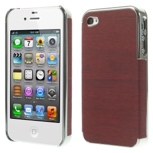 Wood Grain Leather Coated Plastic Plating Shell for iPhone 4 4s - Silver / Red