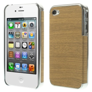 Wood Grain Leather Coated Plating Hard Case for iPhone 4 4s - Silver / Brown