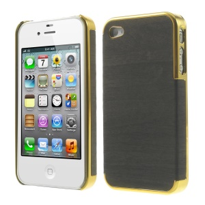 Wood Grain Leather Coated Plastic Plating Cover for iPhone 4 4s - Gold / Black