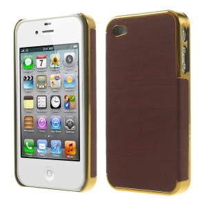 Wood Grain Leather Coated Plastic Plating Cover for iPhone 4 4s - Gold / Red