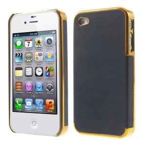 Wood Grain Leather Coated Plastic Plating Cover for iPhone 4 4s - Gold / Deep Blue