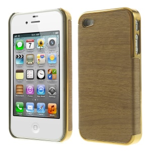 Wood Grain Leather Coated Plastic Plating Cover for iPhone 4 4s - Gold / Brown