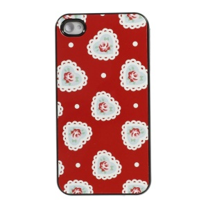 Heart & Rose Pattern Protective Plastic Hard Shell for iPhone 4s 4