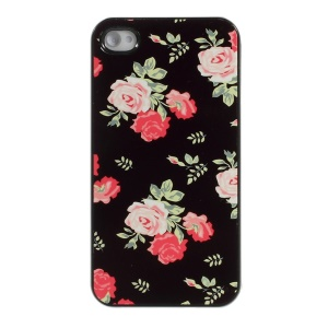 Beautiful Roses Pattern Protective Plastic Hard Shell Cover for iPhone 4s 4