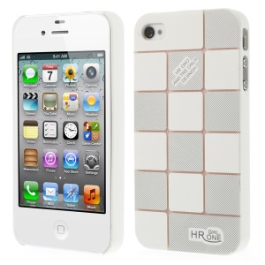 White Check Pattern Slim PC Hard Case for iPhone 4s 4