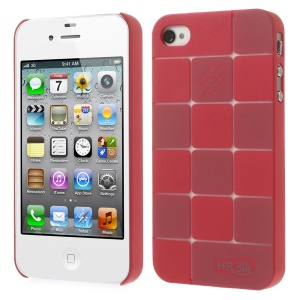 Red Check Pattern Slim PC Hard Cover for iPhone 4s 4