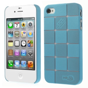 Light Blue Check Pattern Hard Plastic Slim Case for iPhone 4s 4