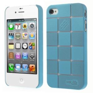 Light Blue Check Pattern Hard Plastic Slim Case for iPhone 4s 4