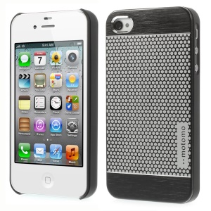 MOTOMO for iPhone 4s 4 Polka Dots Brushed Metal Skin Hard Case - Black
